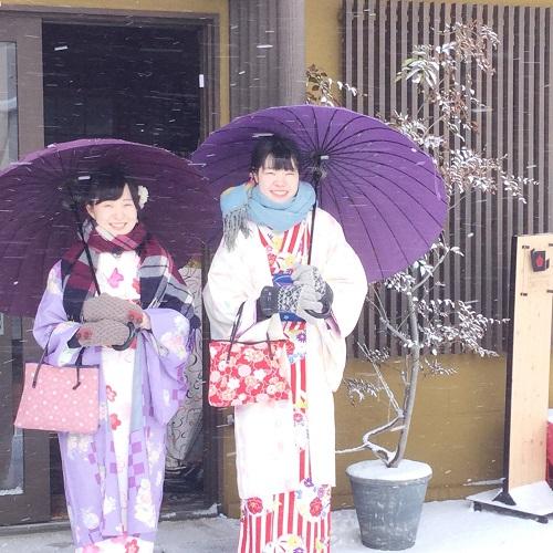 雪の日の着物